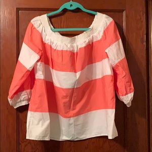 Coral and white blouse